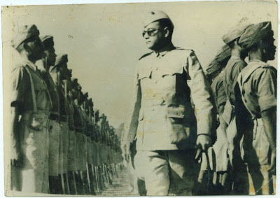 Netaji Subhas Chandra Bose Reviewing the Troops of Azad Hind Fauj - 1940's