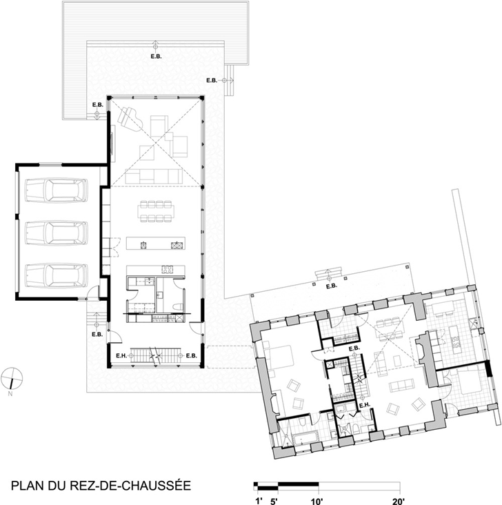 Ground floor plan of Renovated Bord-du-Lac House by Henri Cleinge