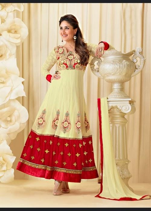 5ce48b8973 Price Drop - Kareena Kapoor Cream Georgette Ankle Length Anarkali Suit on  Sale US$ 69.20