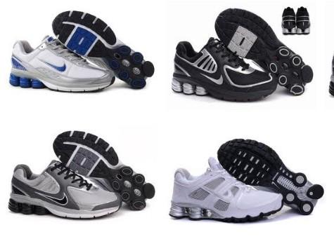 online retailer 56d07 1f13c Cheap Mens Nike Shox R6 Shoe Leather Upper Blue White Silver Online