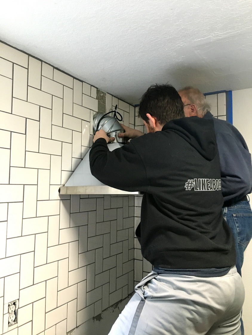 This was a hard project installing the vent hood create enjoy that was also tricky and thats when we had to move the screws slightly to shift the vent hood over from the template must have been a problem with our publicscrutiny Images