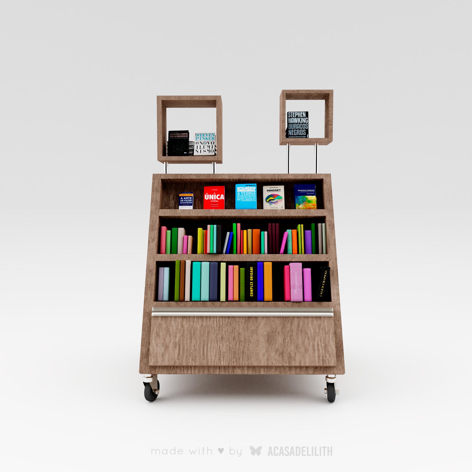 Expositor para Livraria com Rodinhas (Mobile book cart) - Formato Triangular