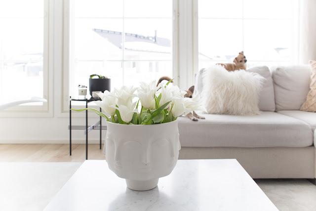 Villa H, tulppaanit, pääsiäinen, koirat, Jonathan Adler maljakko