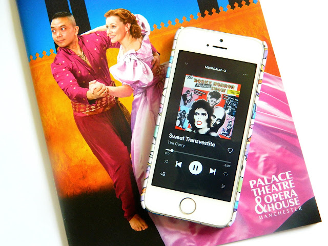World Theatre Day- A photo of a musical theatre magazine and a playlist from rocky horror picture show