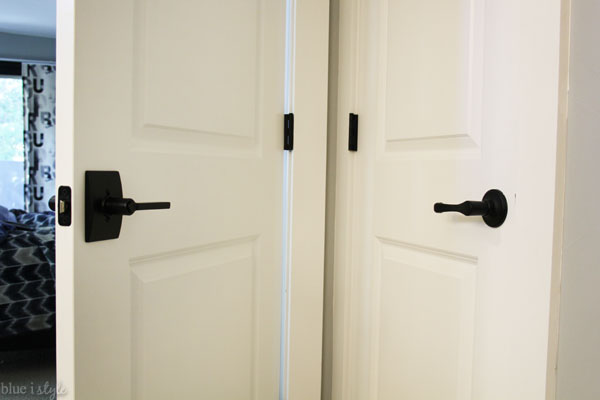 Side by side door lever comparison before and after