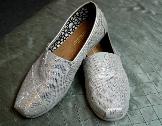 96b32bab153 Women s Classic slip-on shoe by Tom s in silver glitter! These sparkly
