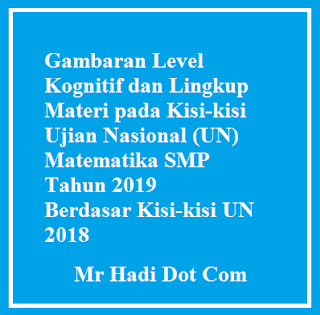 Kisi-kisi Ujian Nasional (UN) Matematika SMP Tahun 2019