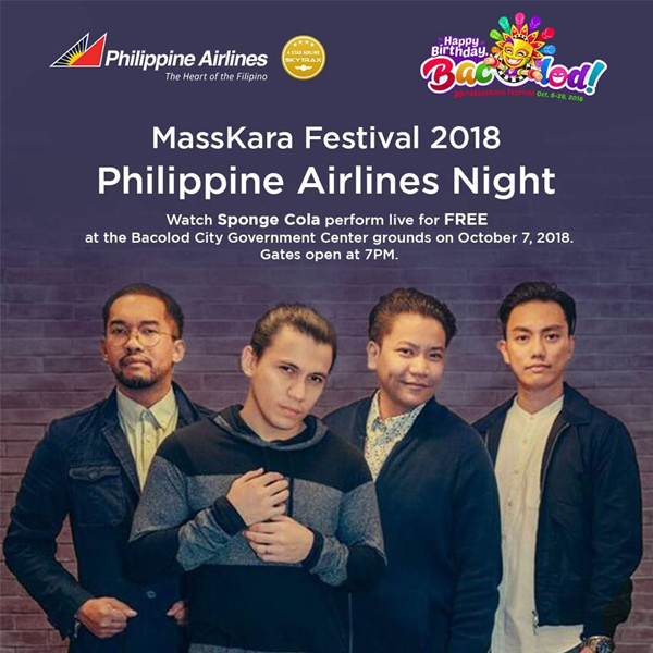 Bacolod MassKara Festival opening - Bacolod MassKara Festival 2018 - Bacolod City - MassKara Festival - Sponge Cola - Philippine Airlines
