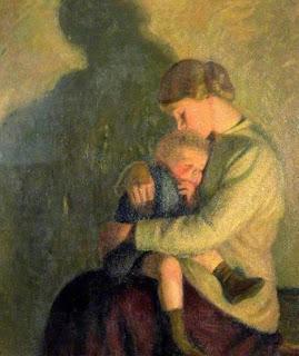 Мать и ребенок при свете свечи. Вильям Розенштейн. 1934