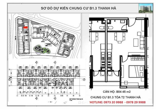Sơ đồ căn hộ số B04 chung cư T2 Thanh Hà