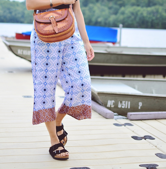 Culottes with Birkenstock sandals