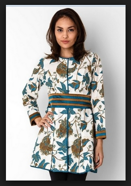 Model dress batik lengan panjang untuk pesta