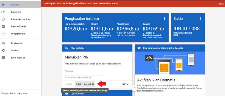 cara kirim ulang pin google adsense baru