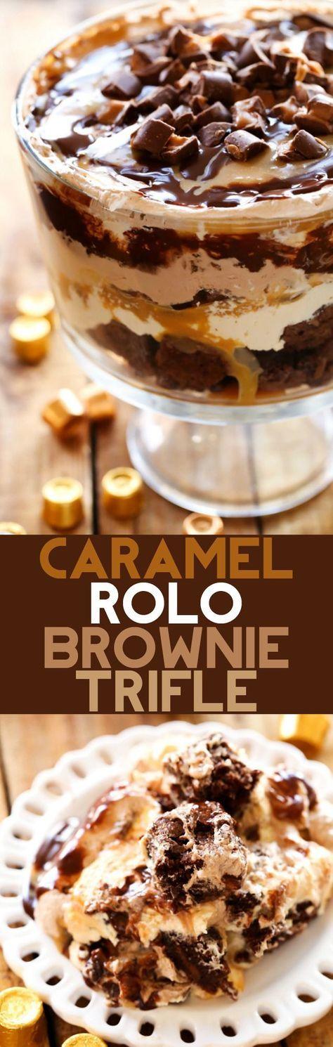 Caramel ROLO Brownie Trifle #Caramel #Rolo #Brownie #Trifle #Caramel #dessert #Easydessert #bestdessert #Easyrecipe