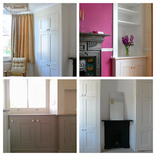 A collage of traditional built in cupboards