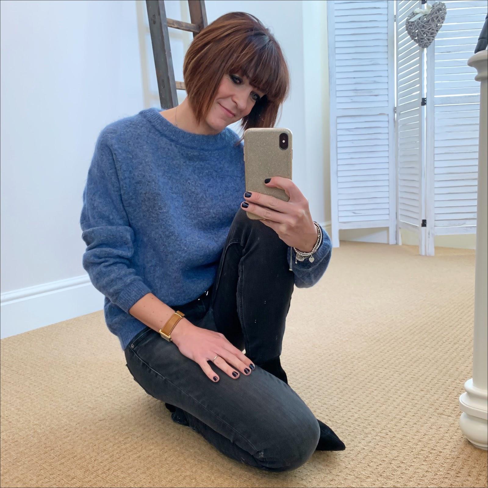 my midlife fashion, acne studios dramatic jumper, zara skinny jeans, isabel marant etoile studded belt, amazon find ark leather ankle boots