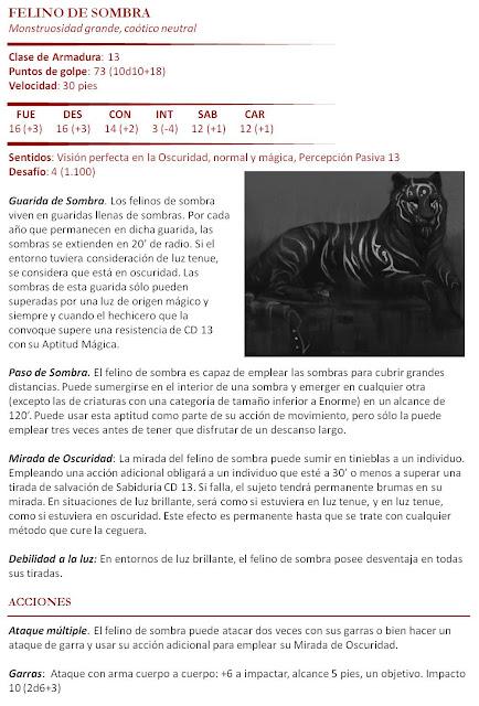 Compendio de Monstruos - Felino de Sombra