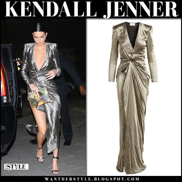 Kendall Jenner in metallic silver gown and silver sandals gianvito rossi portofino red carpet style october 23 2017