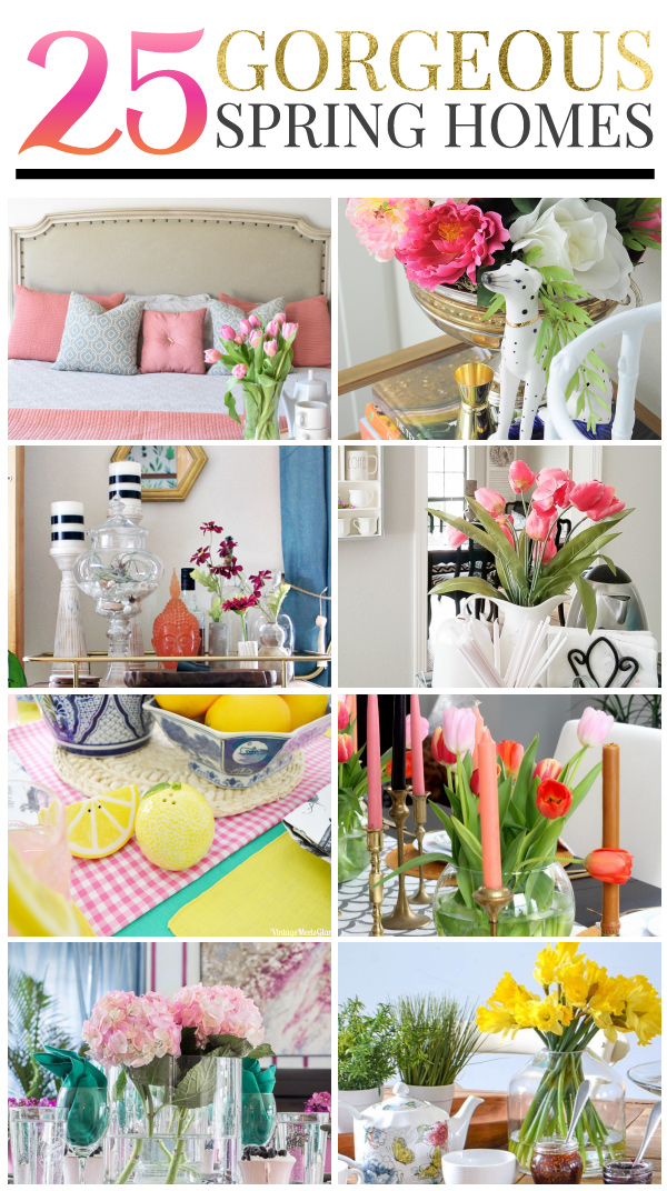 25 gorgeous homes decorated for spring! Lovely and chic decor ideas for every room of your home.