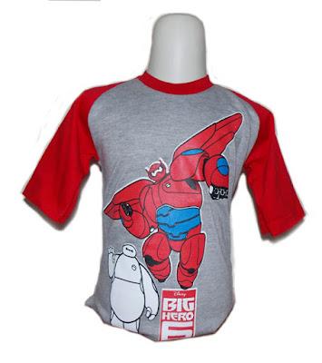Kaos Raglan Anak Karakter Big Hero 6 Abu-Abu Merah