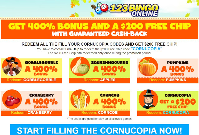 Cornucopia 400% Match Bonus Coupons and $200 Free at 123Bingo