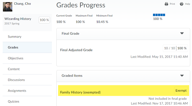 screenshot of Grades progress in the Class Progress tool with the Exempt label for the exempted grade item