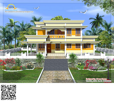 Duplex House Elevation - 223 Square Meter (2400 Sq.Ft.) - November 2011