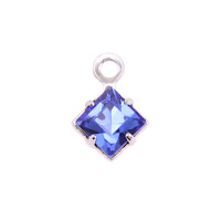 Swarovski Xilion Square Fancy Crystal Charm (Sapphire - SEPTEMBER)