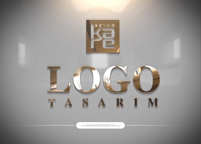 3D logo tasarımı parlak duvar gold