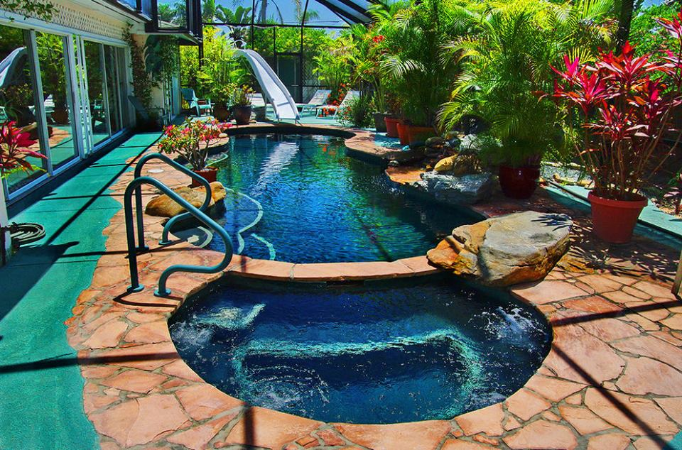 Beautifying your home with awesome backyard landscape for Garden pool landscaping