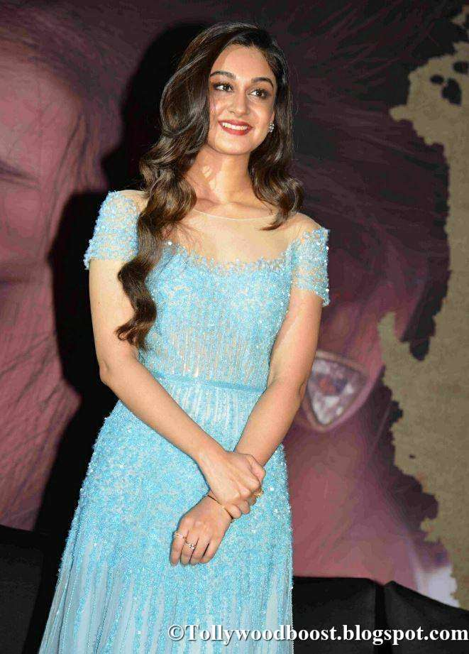 Tamil Actress Aishwarya Arjun Long Hair Stills In Blue Dress