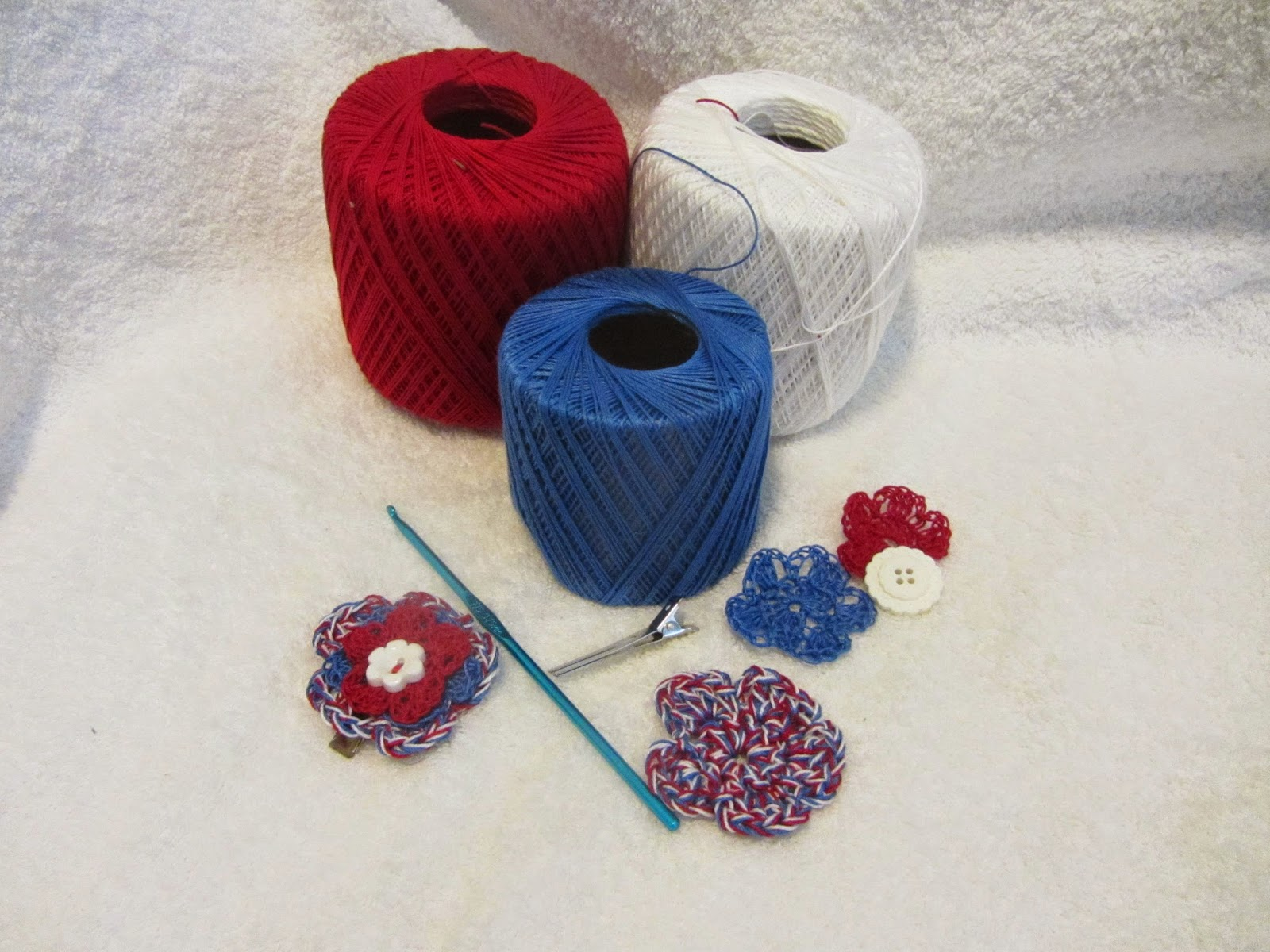 Crochet Flower Hair Clips Red White Blue Series Via Mashed Potatoes