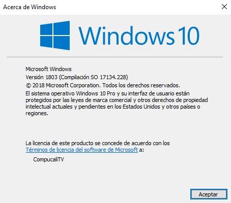 Windows 10 Build 17134.228 RS4 Final Español Latino (Agosto 2018)