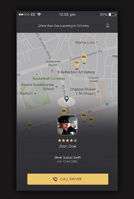 Taxi App Driver Details Screen