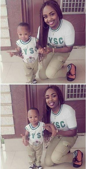 Aww! Check out this mother and son in NYSC outfit