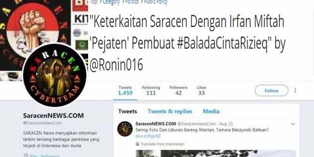 """Keterkaitan Saracen Dengan Irfan Miftah 'Pejaten' Pembuat #BaladaCintaRizieq"""