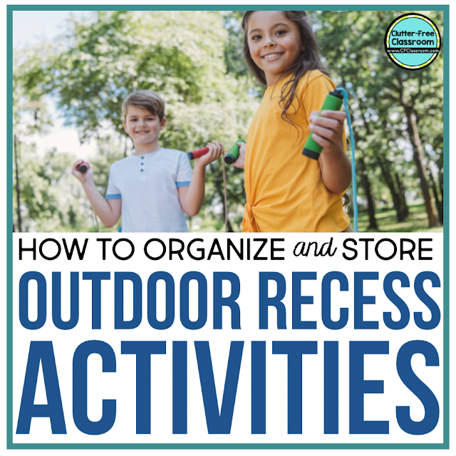 Sidewalk chalk, jumprope, balls, hula hoops... So many fun outdoor recess activities! Read this blog post to learn how I manage and organize all of these games with simple storage solutions