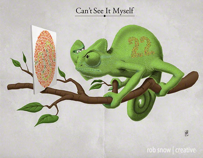06-Cant-See-It-Myself-Rob-Snow-Animal-Illustrations-Play-on-Words-www-designstack-co