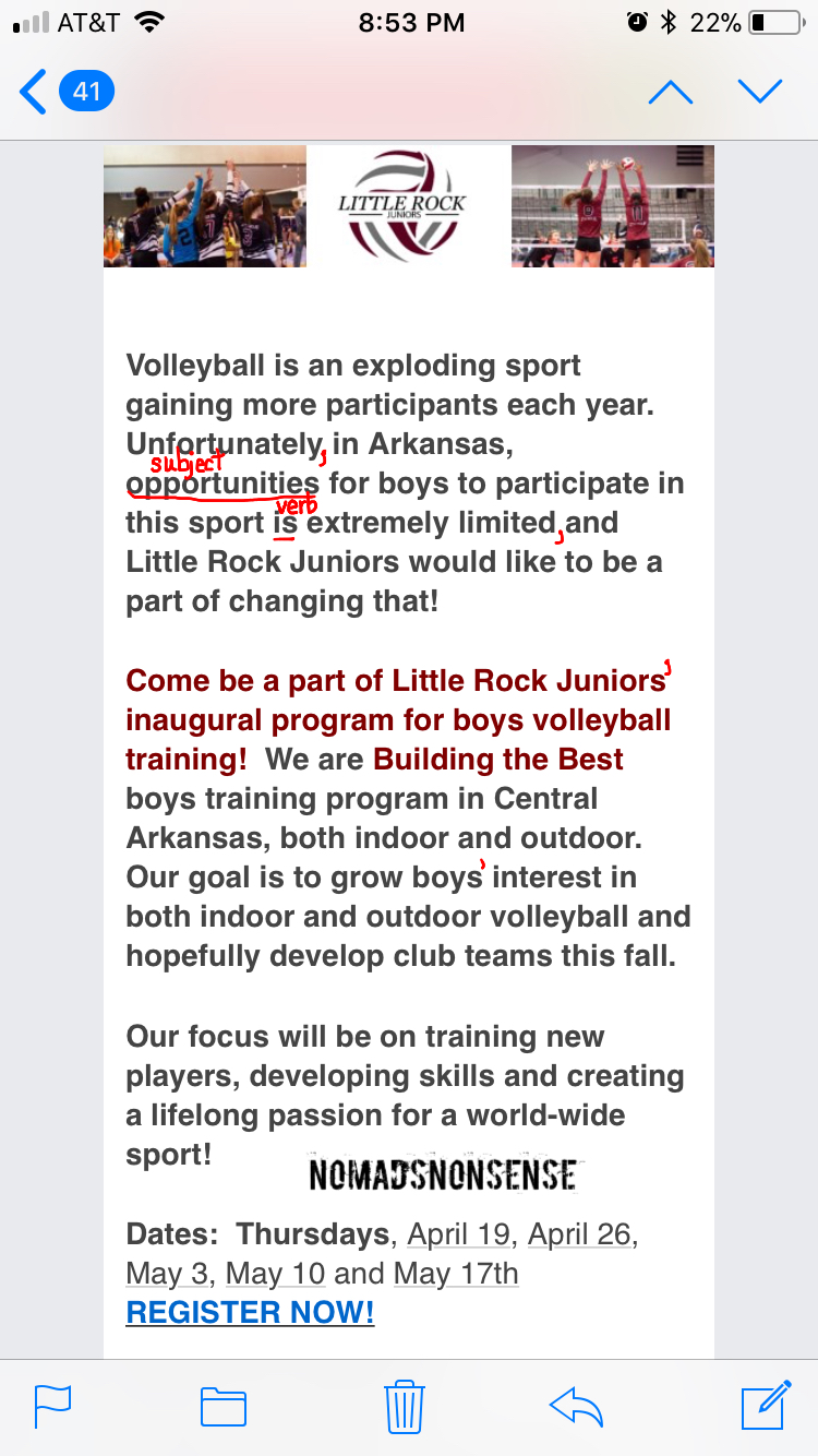 Volleyball Subject Verb Agreement