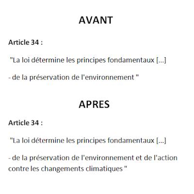 """Projet de réforme constitutionnelle : mention de """"l'action contre les changements climatiques"""" l'article 34"""