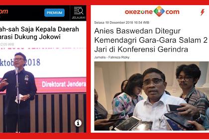 Suryo Prabowo: Jian..Sontoloyo Tena, Kemendagri yang Tegur Anies Salam 2 Jari Tapi Izinkan Kepala Daerah Deklarasi Dukung Jokowi
