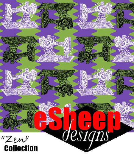 Sewing Machine Zen fabric design by eSheep Designs