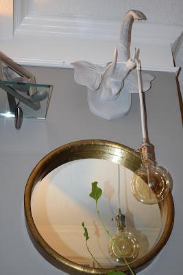 pendant lighting;Edison light bulb; gold round mirror;JoFer