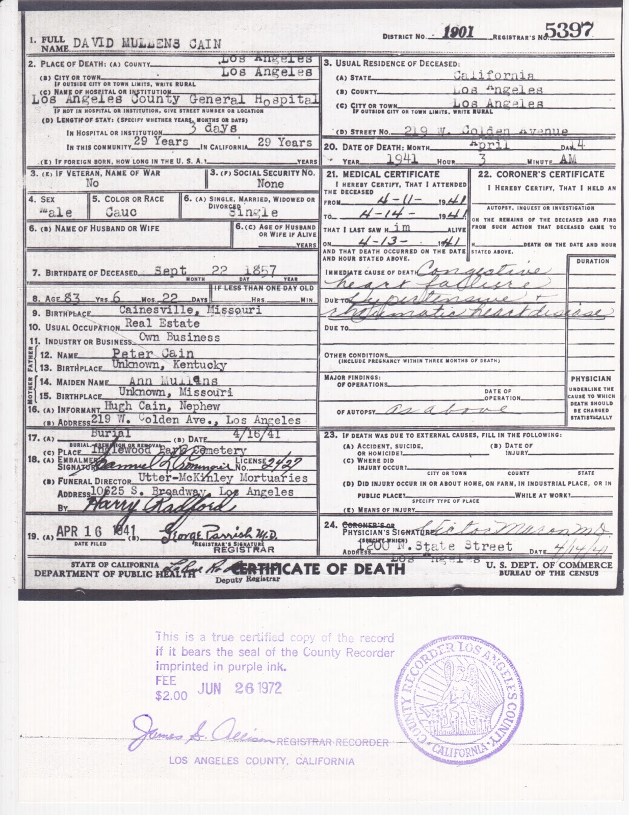 Wordless Wednesday: Death Certificate for David Mullens Cain