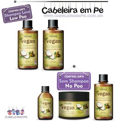 Na Beauty Fair 2016 foi lançada a linha Linha Vegan - Inoar composta por Shampoo sem sulfato e Leave in Liberados para Low Poo e Máscara, óleo e condicionador liberados para no Poo Vegana