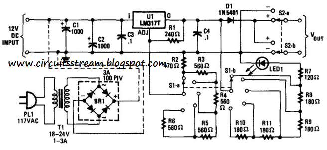 simple variable dc supply step circuit diagram electronic circuit diagrams schematics