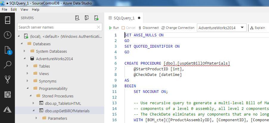 Source Control using Azure Data Studio and GitHub