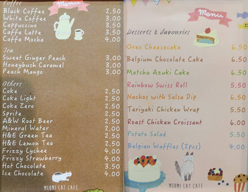 Meomi Cat cafe menu
