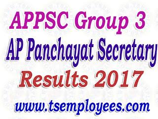 APPSC Group 3 Results 2017 AP Panchayat Secretary Screening Test Cutoff Marks @ psc.ap.gov.in