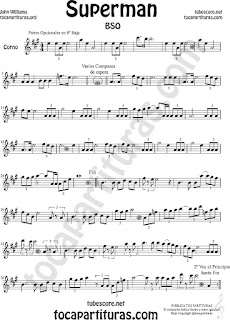 Trompa y Corno Francés Partitura de Superman en Mi bemol Sheet Music for French Horn Music Scores